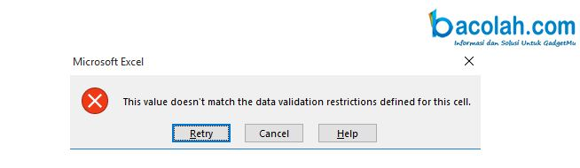 Cara Mengatasi excel error a user has restricted values that can be entered into this cell